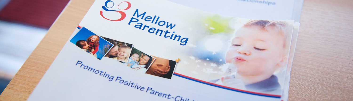 mellow parenting brochure with text promoting positive parent-child relationships
